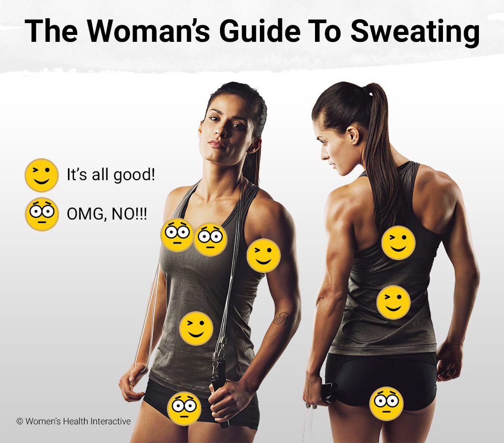 A Woman's Guide To Sweating Infographic Depicting A Front And Back View Of A Fit Female In Black Shorts and Grey Tank Top Showing Okay Versus Embarrassing Places To Sweat