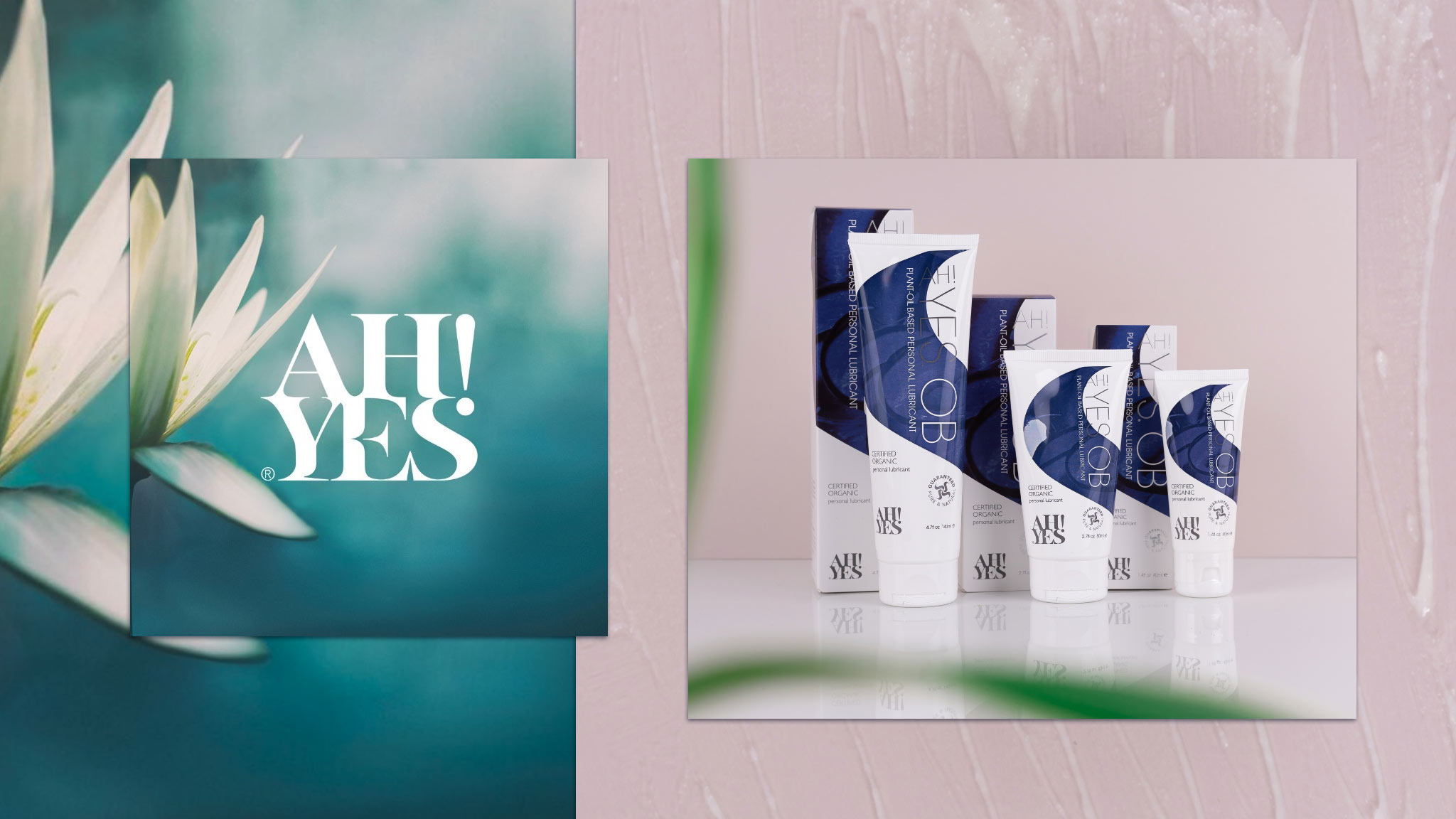 Collage Featuring Flower With AH! YES Logo And A Range Of AH! YES OB Lubricant In Varied Sizes