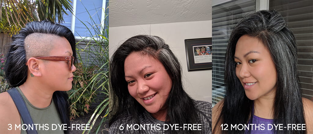 Collage Of Three Images Showing Alex Tran's Gray Hair Transformation