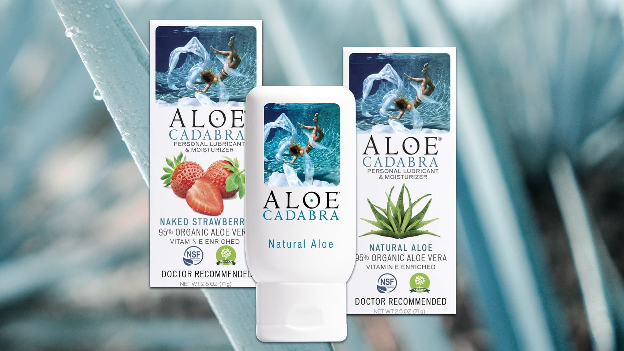 Photo Collage Of Aloe Cadabra Bottle And Boxes Against Aloe Plant Background, Soothing Concept