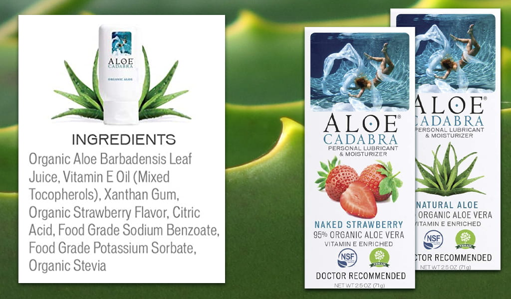 Photo Collage Of Aloe Cadabra's Ingredients And Packaging Against Wavy Aloe Background