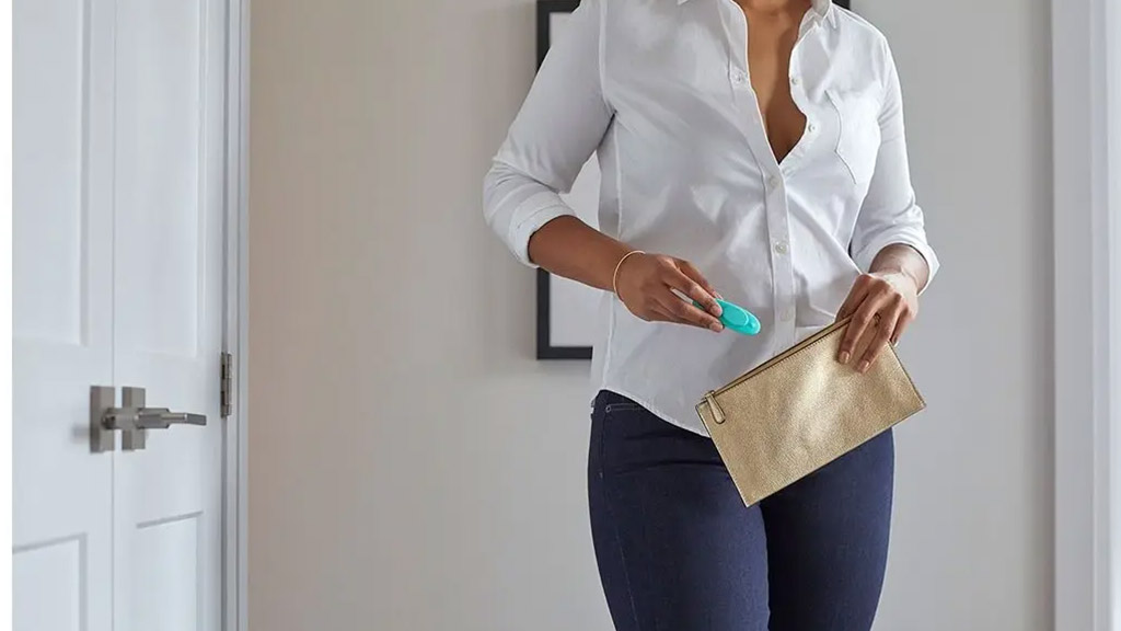 Photograph Of Woman Slipping Vibrator Remote Into Her Purse, Going Out Concept