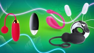 Colorful Collage Of Several Egg Vibrators In Different Styles Against Green Background