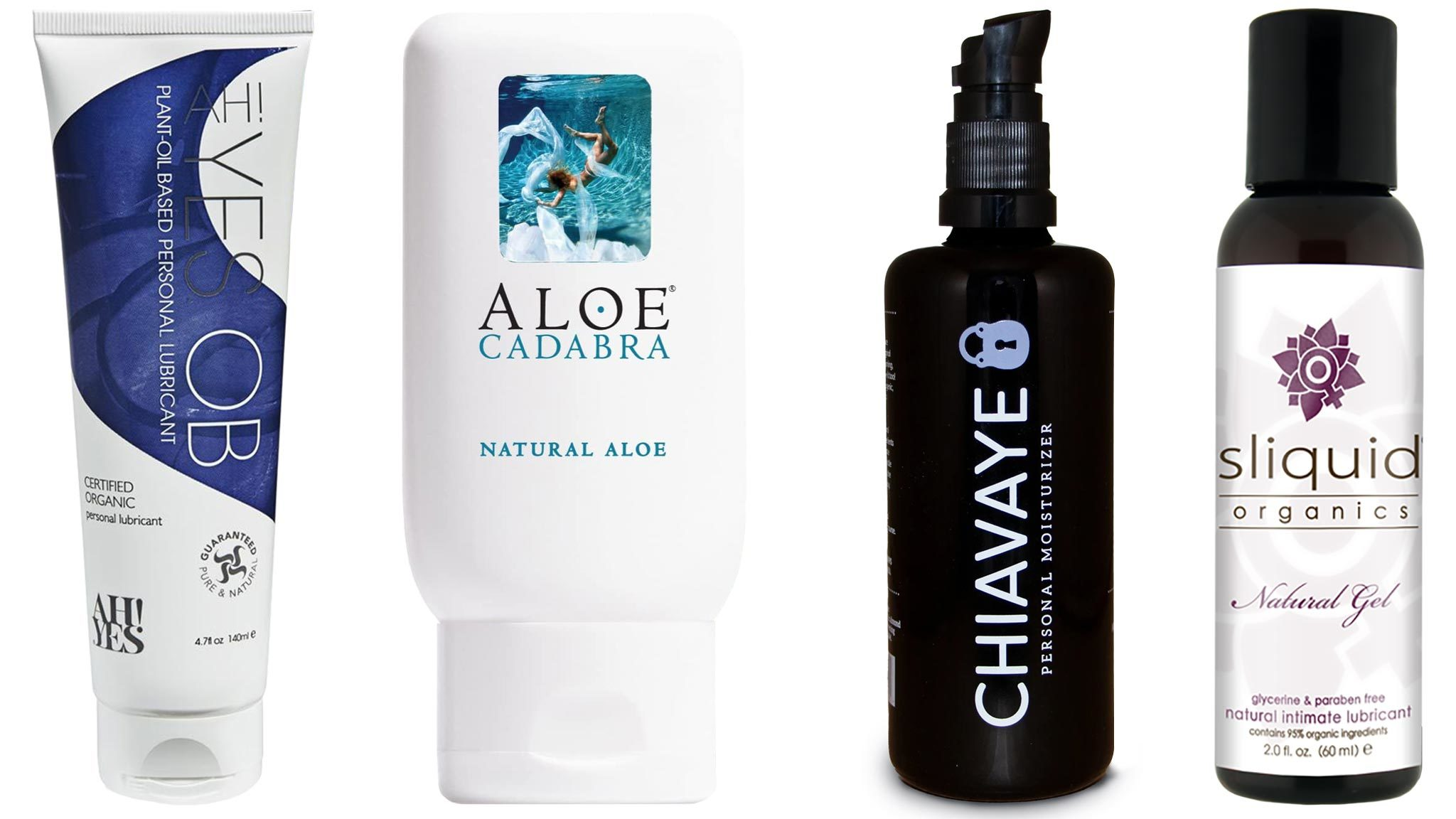 Image Of Four Best Natural And Organic Personal Lubricants: AH! YES OB, Aloe Cadabra, Chiavaye, and Sliquid Organics