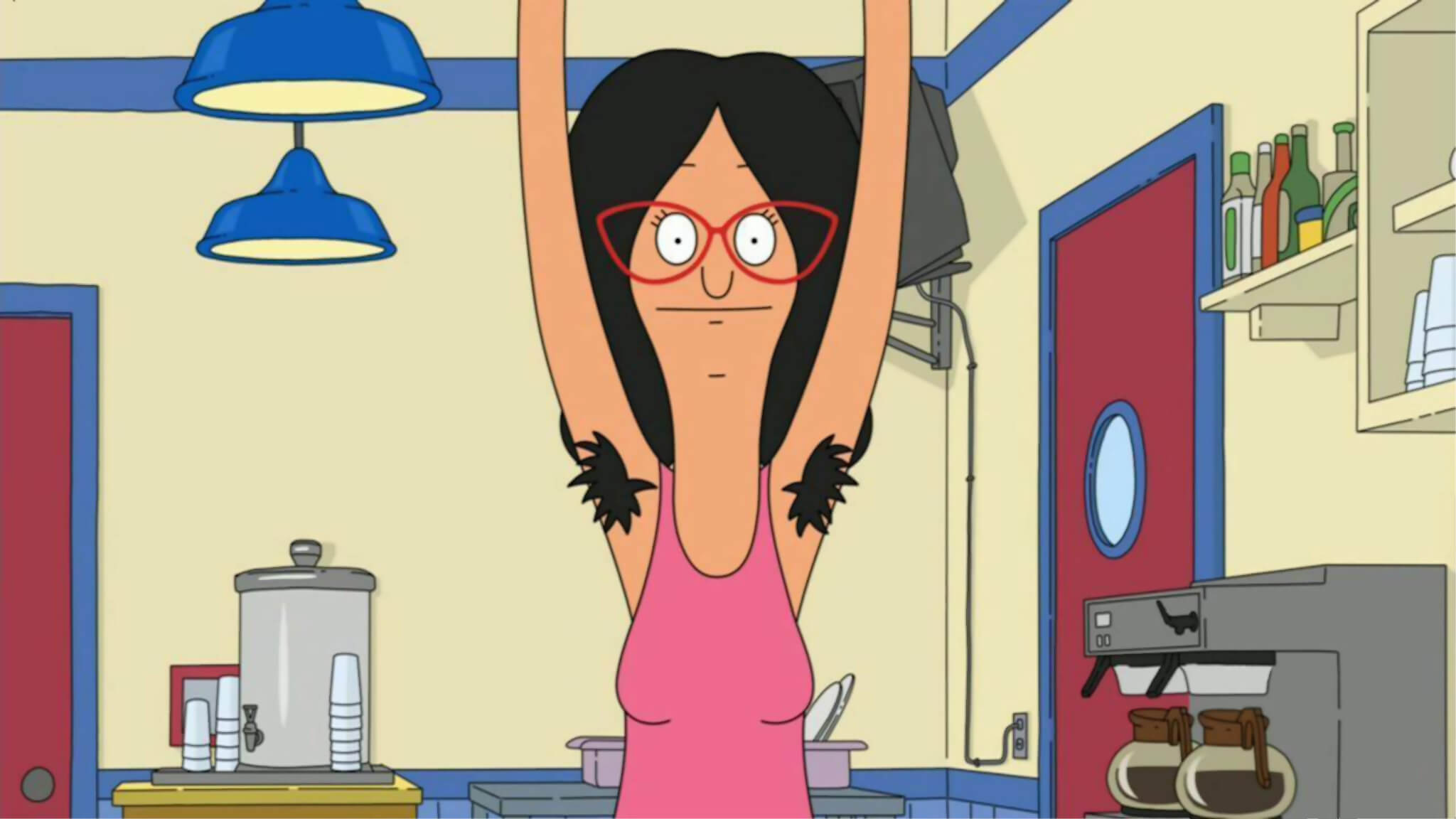 Cartoon Image Of A Woman Showing Her Hairy Armpits