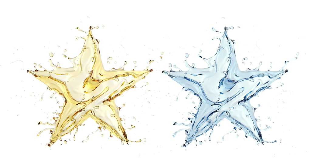 Image Of Two Liquid Star Shapes, One Gold And One Light Blue, Silicone Oil Compared To Water Concept