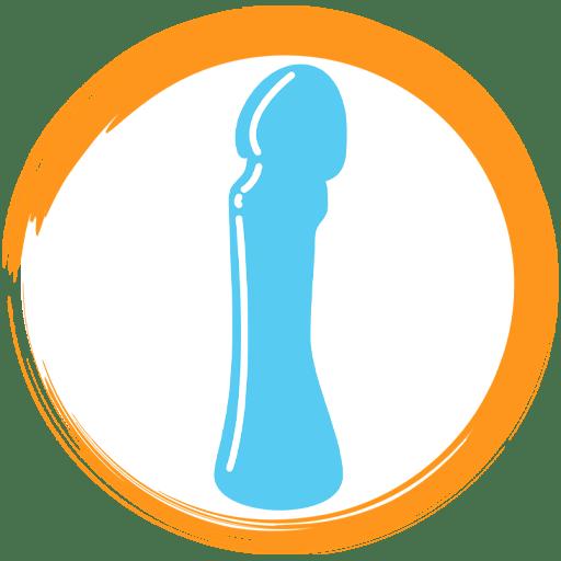 Icon Depicting Blue Glass Dildo In Orange Circle