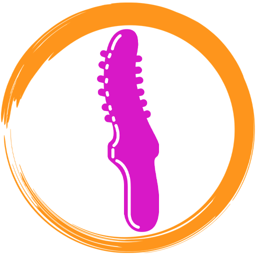 Icon Depicting Pink Porous Sex Toy In Orange Circle