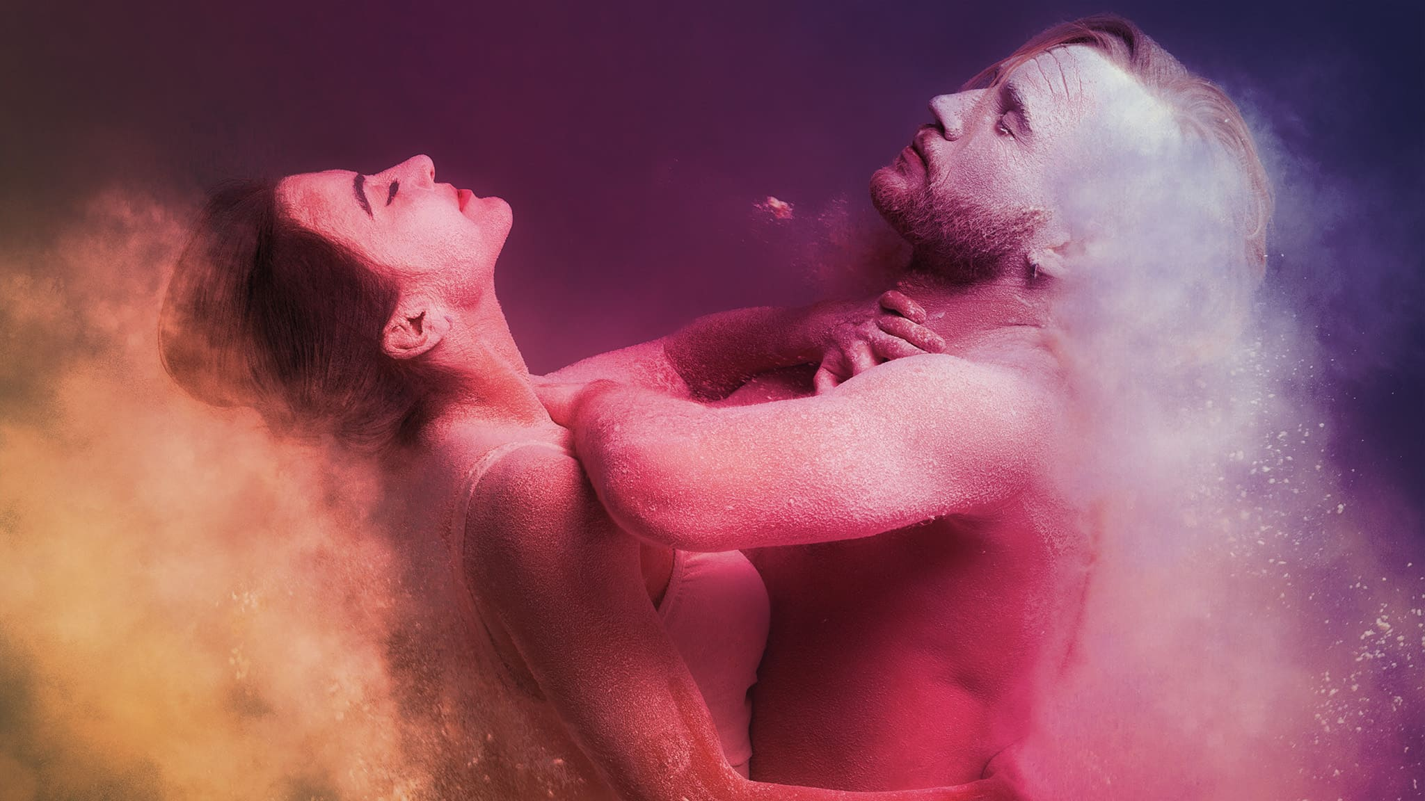 Close Up Photo Of Dancers In Colorful Dust, Passion Concept