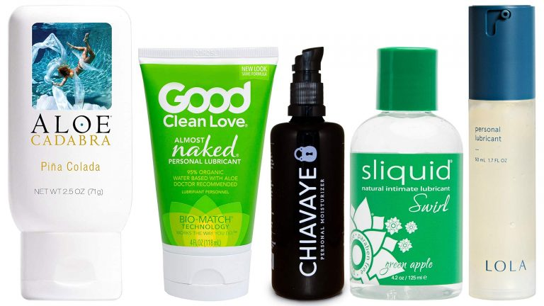 Collage Of Five Best Flavored And Edible Lubes: Aloe Cadabra, Almost Naked, Chiavaye, Sliquid Swirl, and LOLA