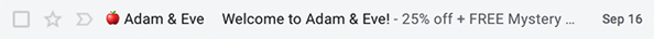 Screenshot Displaying An Email Subject Line From Adam & Eve With Red Apple Icon