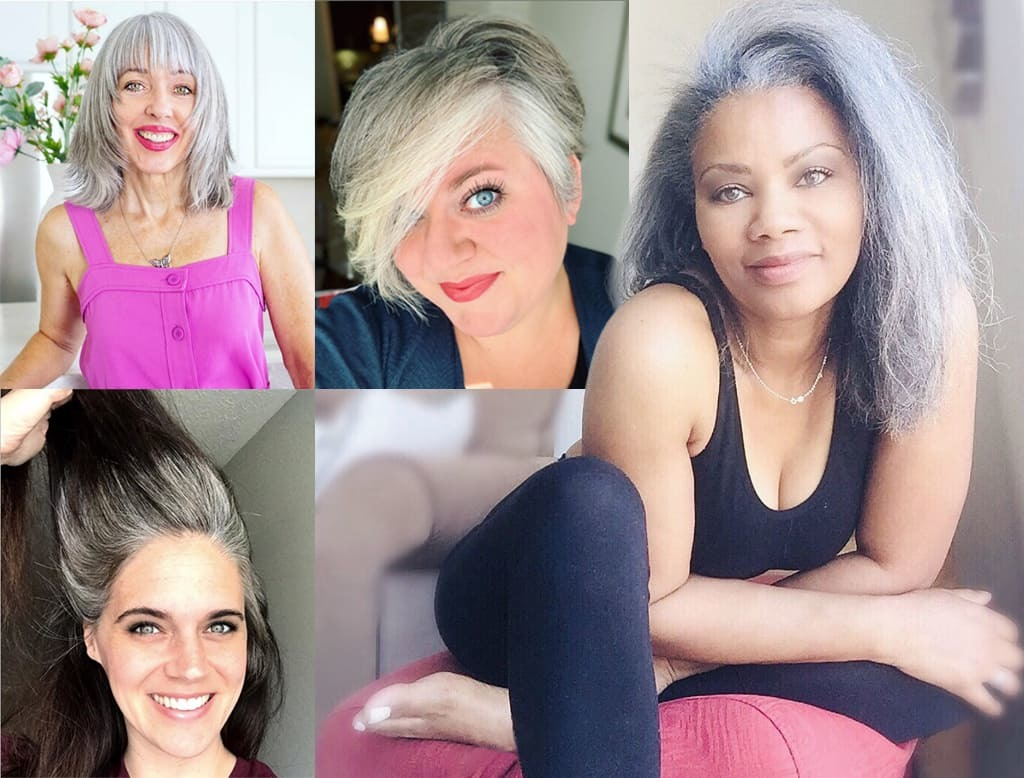 Collage Showing Five Women Embracing Their Natural Gray