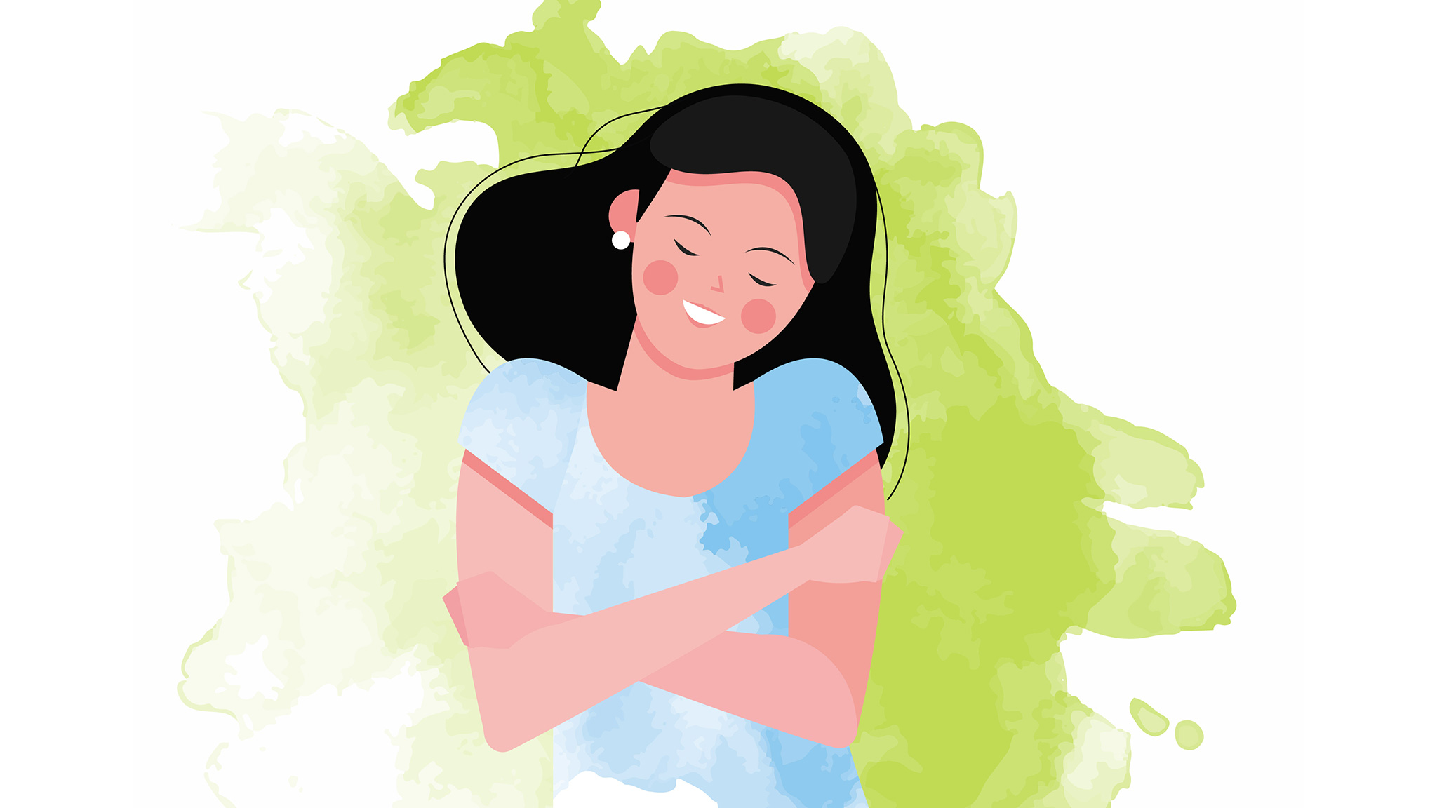 Vector Illustration Of Young Woman Smiling And Hugging Herself, Joy And Pleasure Concept