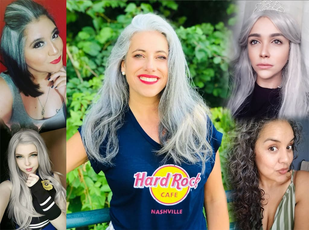 Collage Of Five Women Going Gray Gracefully At Various Stages, Ages and Costume