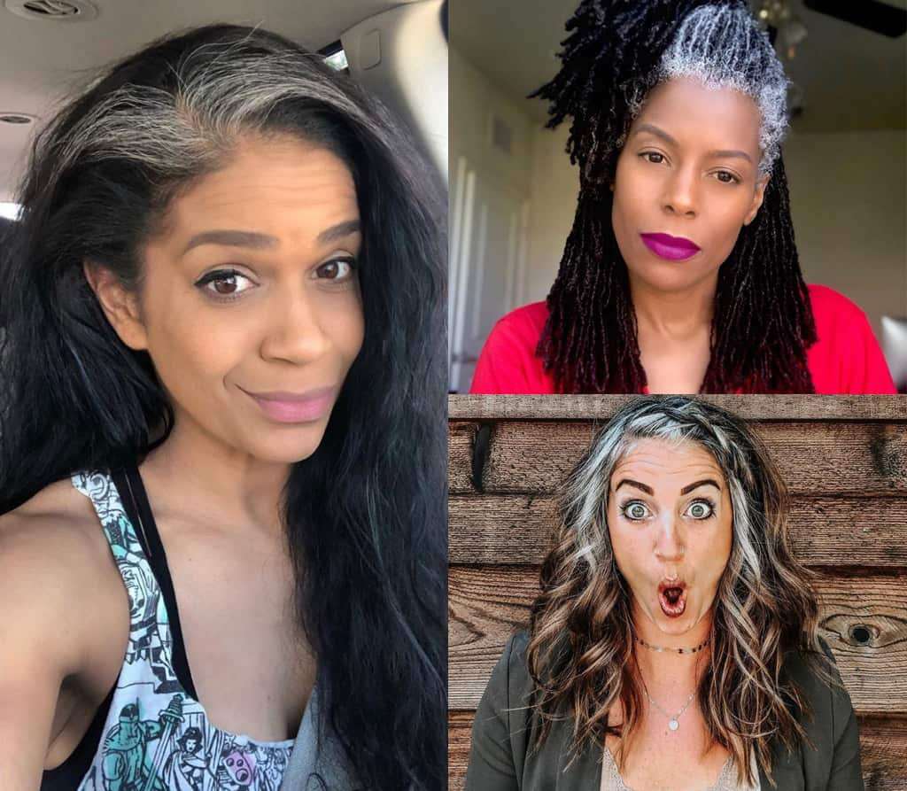 Collage Of Three Women Who Have Chosen To Go Gray In Various Stages