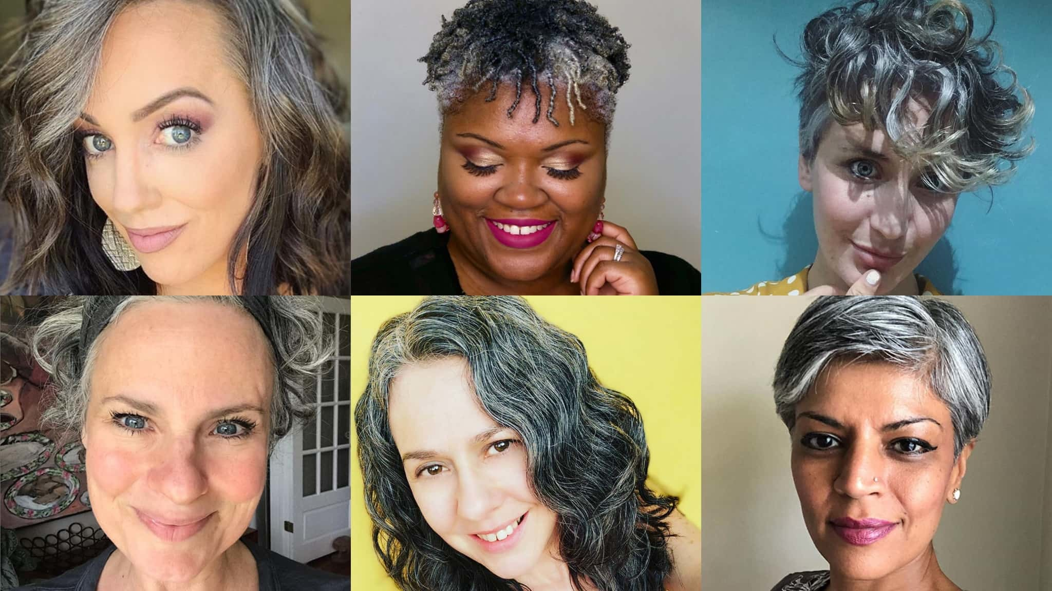 Collage Of Six Women In Various Stages Of Growing Out Their Gray Hair