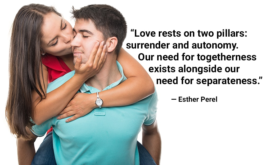 Happy Couple With Woman Riding Piggyback On The Man And Kissing Him Against White Background With A Quote Superimposed