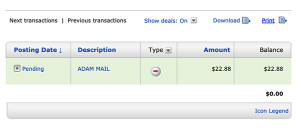 """Screenshot Of Credit Card Charge That Reads """"Pending"""" Beneath The Posting Date And """"ADAM MAIL"""" In The Purchase Description"""