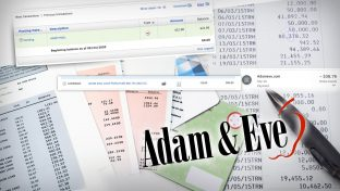 A Collage Of Bank And Credit Card Statements Paired With Screenshots Of Purchases Made From Adam & Eve