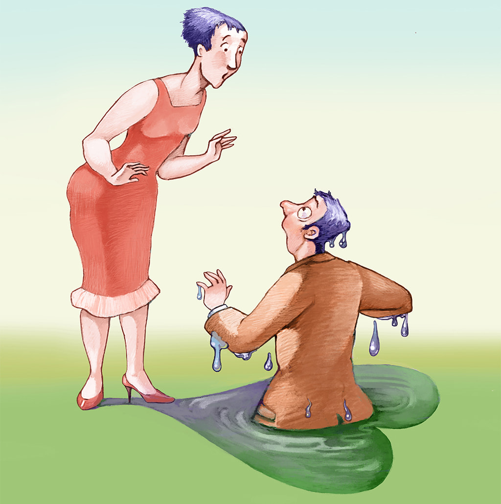 Whimsical Illustration Of A Woman Looking At A Man Submerged To His Waist Who Has Fallen Into Her Heart-Shaped Shadow That Became A Puddle Of Water Signifying Self-Sabotage