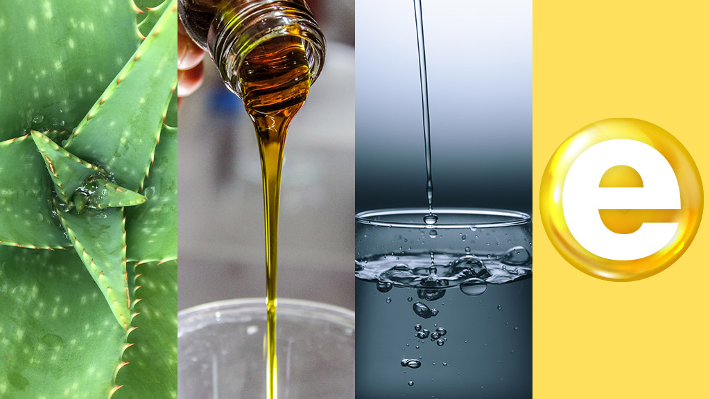 Collage Of Lube Ingredients: Aloe, Oil, Water, Vitamin E