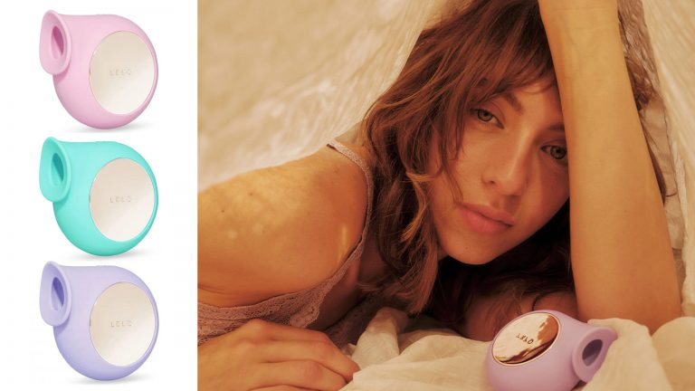 Collage Of Three LELO SILAs In Pink, Aqua, And Purple On Left With Photo Of Seductive Caucasian Woman Peeking Out From Beneath Sheets On Right