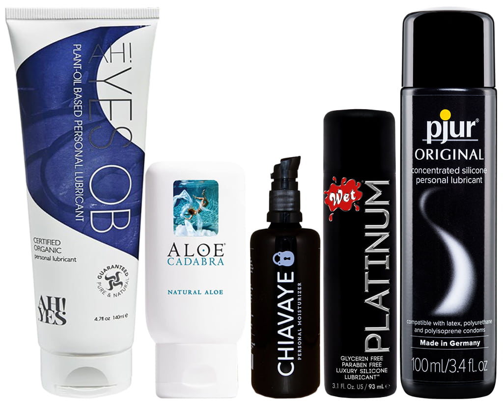 A Variety Of Different Types Of Personal Lubricants, Including Organic, Water-Based, Oil, And Silicone