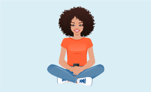 Illustration Of Woman Sitting Cross-Legged Smiling And Holding A Cellphone Over Her Crotch