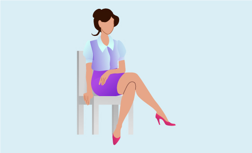 Illustration Of Business-Like Woman Seated With Legs Crossed