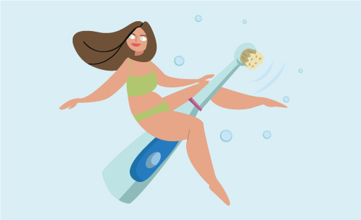 Illustration Of Woman In Swimsuit Riding A Large Electric Toothbrush