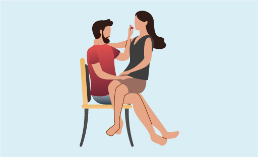 Illustration Of Woman Seated On Man's Lap As He Feeds Her A Cherry