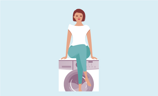 Illustration Of Happy Woman Seated On Top Of A Washing Machine