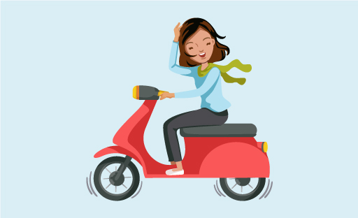Illustration Of Happy Woman Riding A Scooter