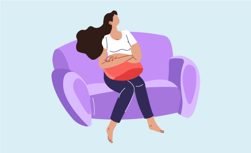 Illustration Of Woman Sitting On The Couch While Holding A Pillow Over Her Crotch