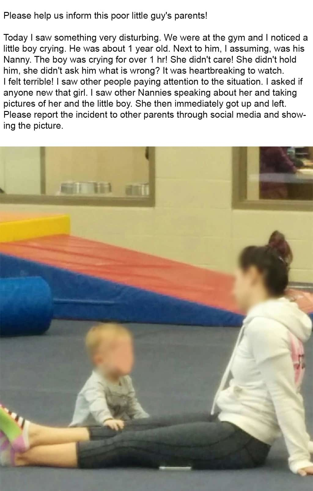 Screenshot Of A Post On I Saw Your Nanny Facebook Group Claiming The Nanny Pictured Did Nothing To Console The Crying Child