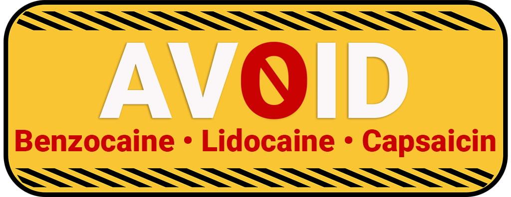 "Illustrated Caution Sign That Reads ""Avoid Benzocaine, Lidocaine, Capsaicin"""
