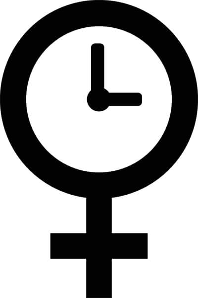An Icon Of The Female Venus Symbol With A Clock
