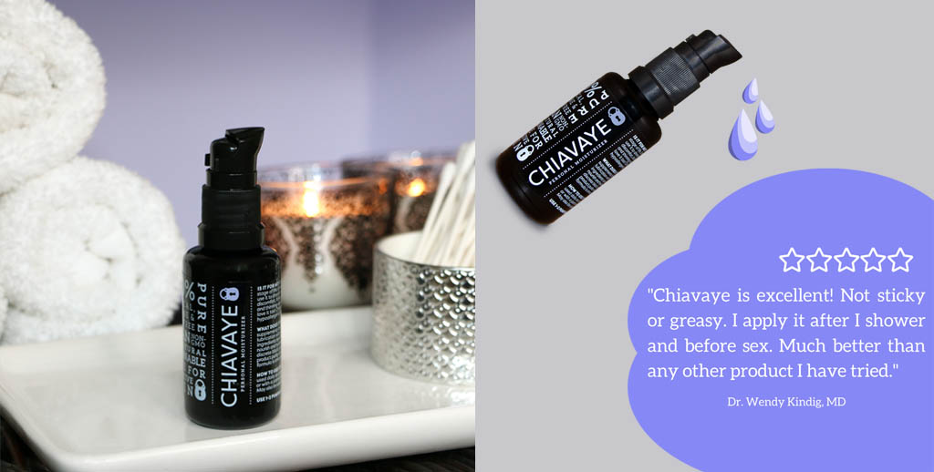 Two-Panel Collage Featuring Chiavaye With Product On Bathroom Counter And With Commentary From Medical Doctor