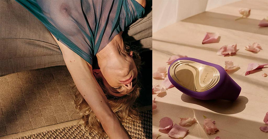 Collage Of Rapturous Woman Laying On Her Back With A Close-Up View Of A Purple LELO SONA 2 Cruise