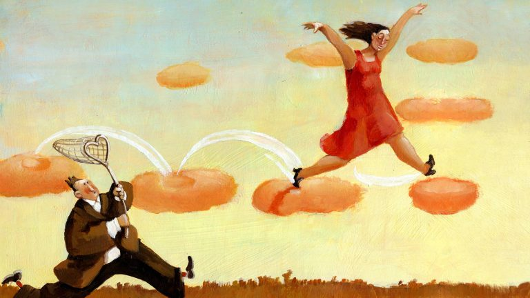 Whimsical Illustration Of A Woman Jumping On Clouds While A Man With A Heart Shaped Net Tries To Catch Her Signifying Romantic Self-Sabotage