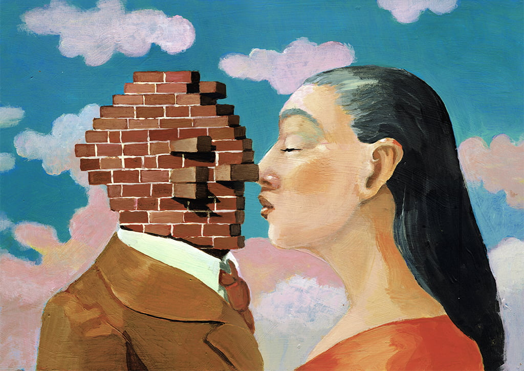 Illustration Of A Woman About To Kiss What Appears To Be A Man, But His Face Is A Brick Wall Signifying One Of The 9 Ways Of Romantic Self-Sabotage, Stonewalling Or Withdrawal