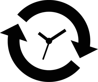 An Icon Showing A Clock With Arrows Going Around It Clockwise