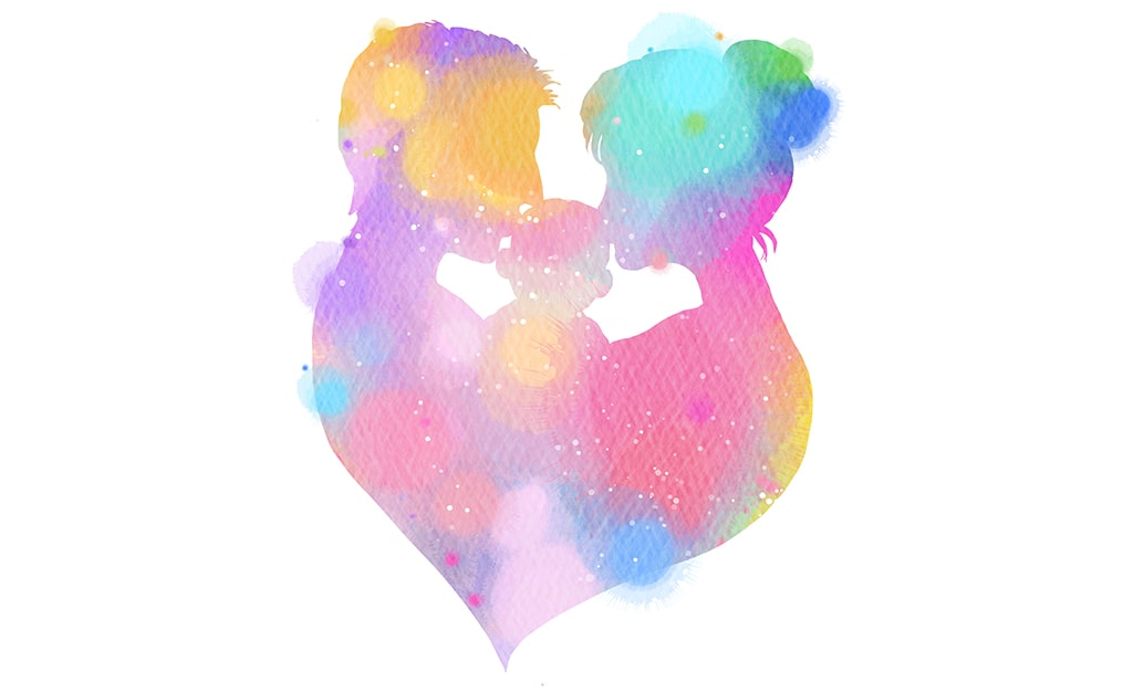 Pastel Watercolor Silhouette Of Parents Kissing Their Baby On White Background