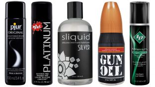 Image Of Five Silicone-Based Personal Lubricants: Pjur, Wet Platinum, Sliquid Silver, GUN OIL and ID Millennium