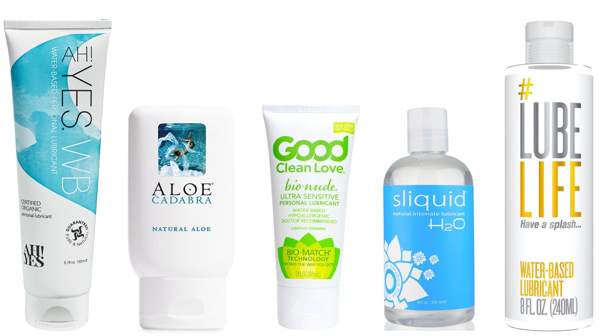 Image Of Five Best Water-Based Personal Lubricants: AH! YES WB, Aloe Cadabra, BioNude Ultra Sensitive, Sliquid Naturals H20, and #LubeLife Water-Based Lubricant