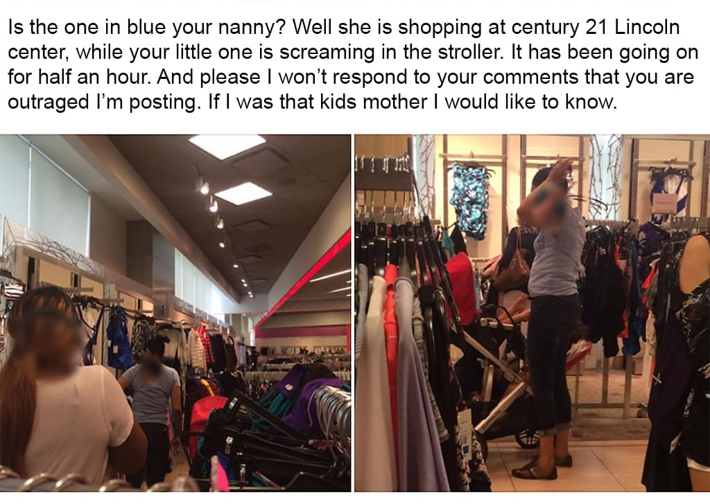 Social Media Post Of A Nanny Shopping With A Child And The Caption Claiming The Child Was Neglected Crying For A Long Period Of Time