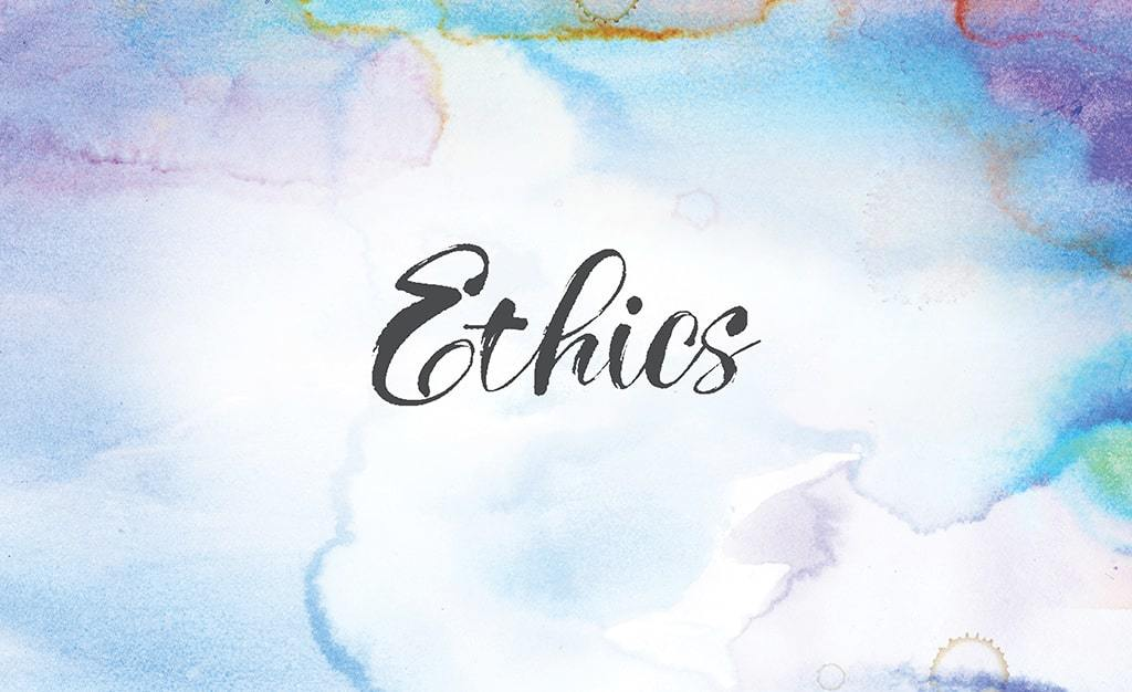 The Word Ethics In Black On A Pastel Watercolor Background