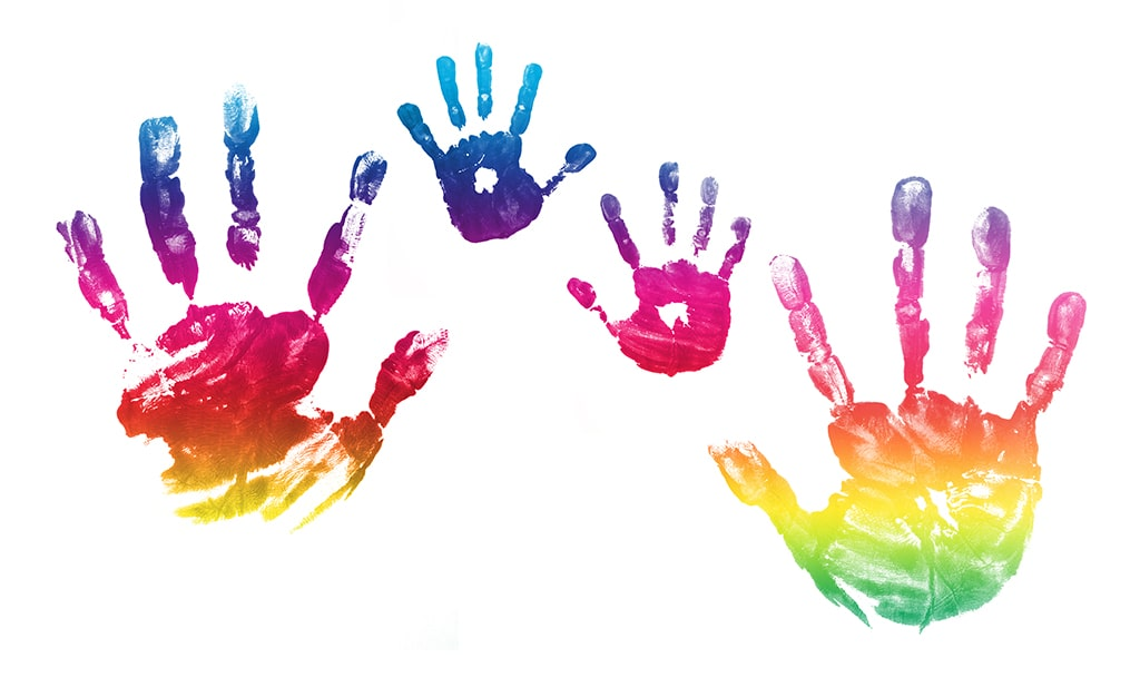 Brightly Colored Watercolor Image Of Adult and Child Handprints