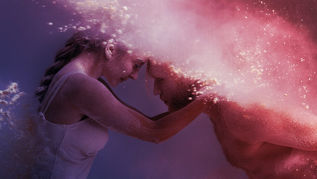 Close Up Photograph Of Dancers In Colorful Dust, Passion And Suspended Animation Concept