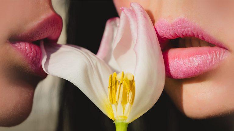 Closeup Photograph Of Two Women's Lips Caressing Flower Petals, Oral Sex Concept